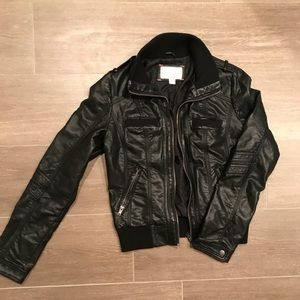 Fitted black faux leather jacket